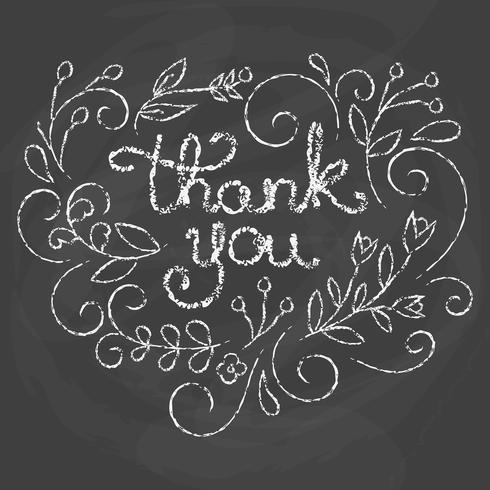 Carte de remerciement. Citation de craie. vecteur