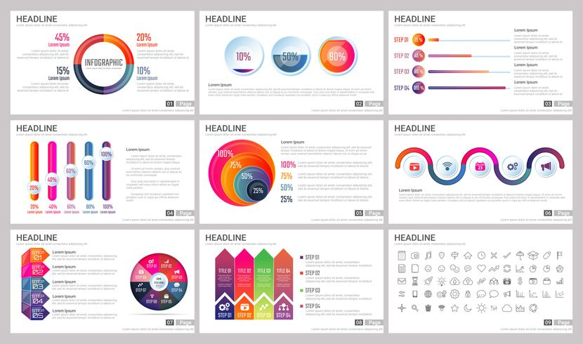 Éléments modernes d'infographie pour les modèles de présentations vecteur