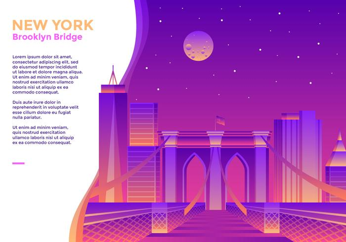 Vecteur, pont brooklyn, new york vecteur