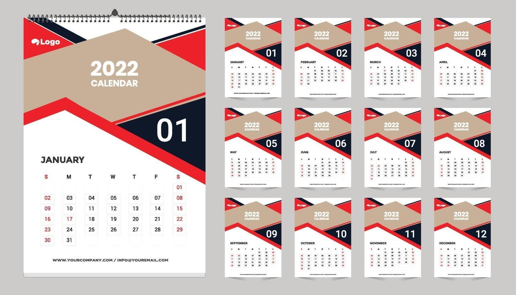 Modèle De Calendrier 2022 calendrier mural 2022 idée de conception de modèle, calendrier
