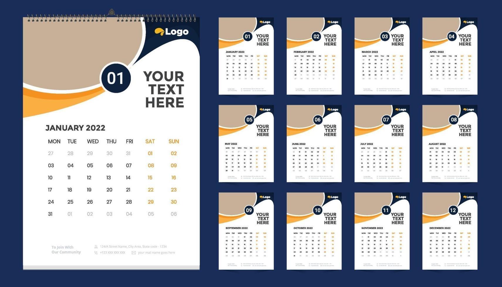 Modèle Calendrier 2022 calendrier mural 2022 idée de conception de modèle, calendrier
