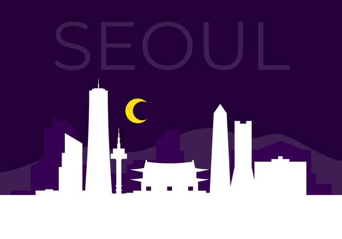 Silhouette de la ville de Séoul vecteur