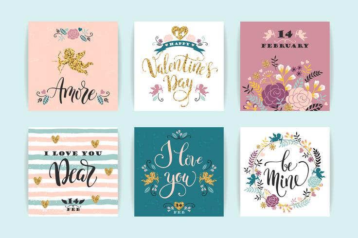 Jeu de cartes Happy Valentines Day. vecteur