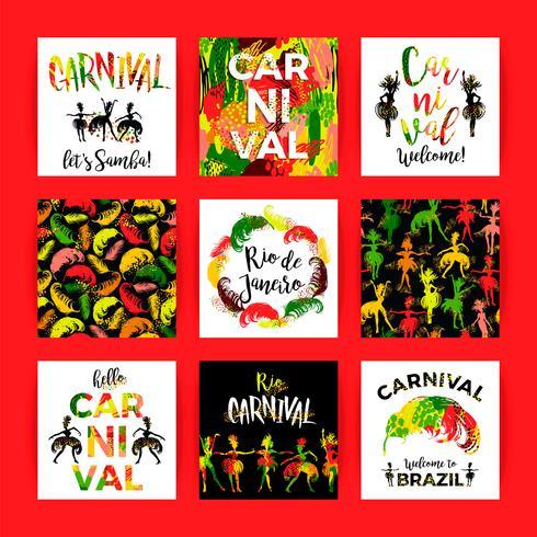 Carnaval du Brésil. Modèles de fête lumineux. vecteur