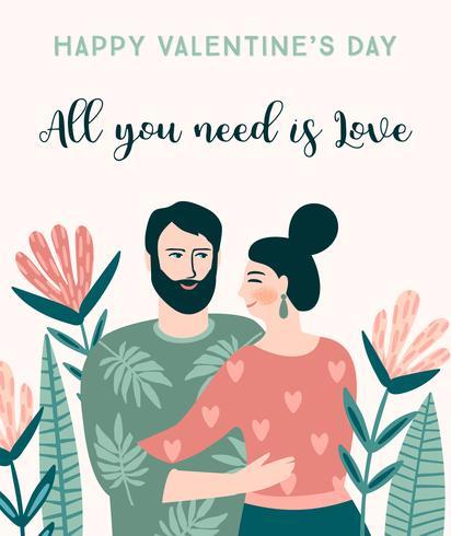 Illustration romantique avec des gens. Concept de design vectoriel pour la Saint Valentin et d'autres utilisateurs.