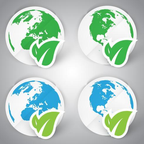 Un ensemble de terre en papier écologique vecteur