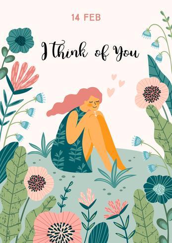Illustration romantique avec femme. Concept de design vectoriel pour la Saint Valentin et d'autres utilisateurs.
