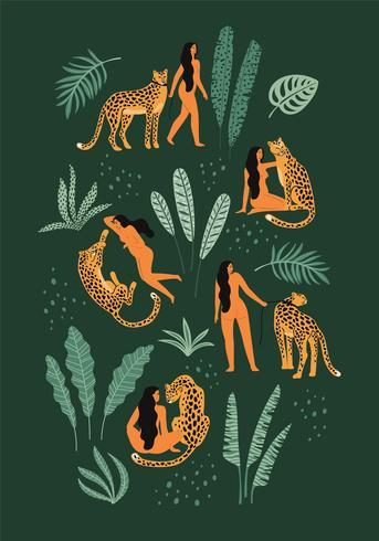 Sois sauvage. Illustrations vectorielles de femme avec léopard et feuilles tropicales. vecteur
