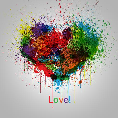 Coeur de vecteur peint