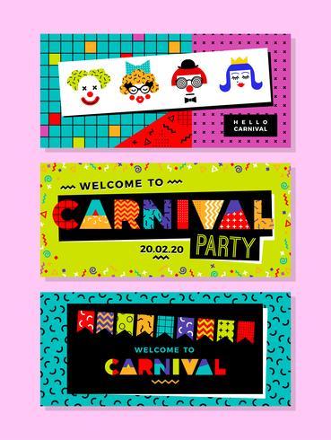 Modèles de carnaval dans le style de Memphis. vecteur
