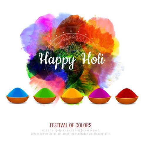 Design de fond abstrait festival coloré Holi heureux vecteur
