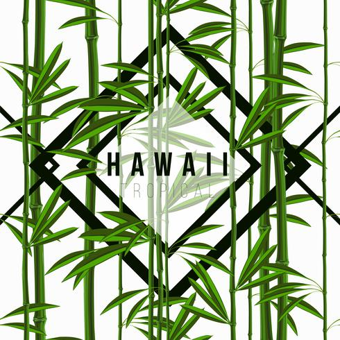 Modèle sans couture avec bambou de plantes tropicales avec des feuilles et des motifs géométriques vecteur