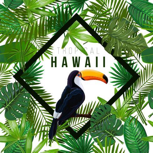 Modèle seamless Vector avec feuilles tropicales et oiseau toucan sur une branche sur fond blanc.