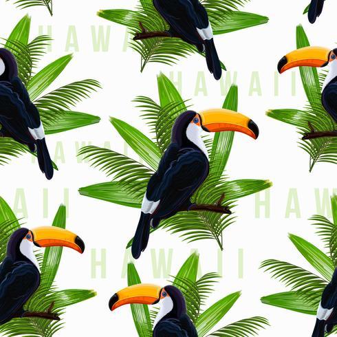 Modèle sans couture de vecteur avec feuilles tropicales et oiseau toucan sur une branche sur fond transparent.