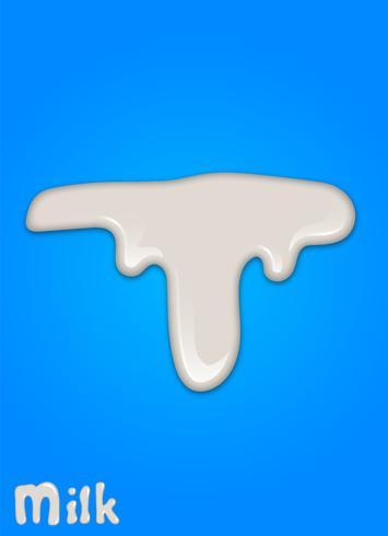 Goutte de lait réaliste, éclaboussures, liquide isolé sur fond bleu. illustration vectorielle vecteur