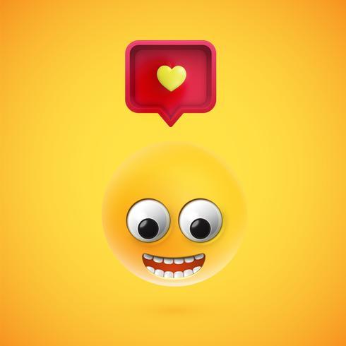 Haut smiley détaillé avec signe de coeur 3D, illustration vectorielle vecteur