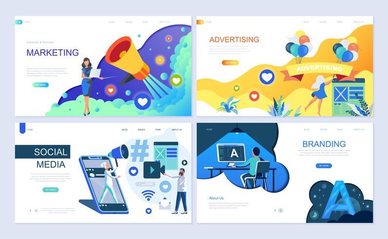 Ensemble de modèles de pages de destination pour le marketing numérique, la publicité, les médias sociaux et l'image de marque vecteur
