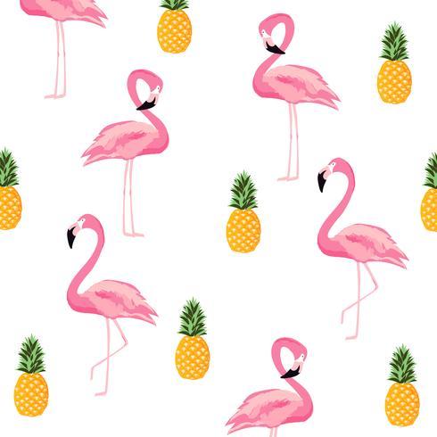 Ananas et flamingo isolés sans soudure de fond vecteur