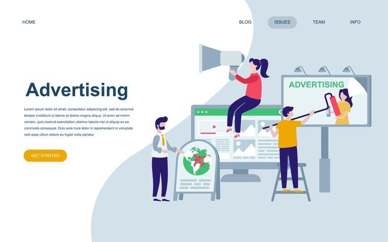Modèle de conception de page web plat moderne de publicité et de promotion vecteur