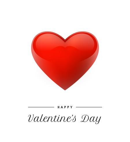 Fond de Saint Valentin avec un cœur réaliste. Illustration vectorielle Bannière d'amour mignonne ou carte de voeux vecteur