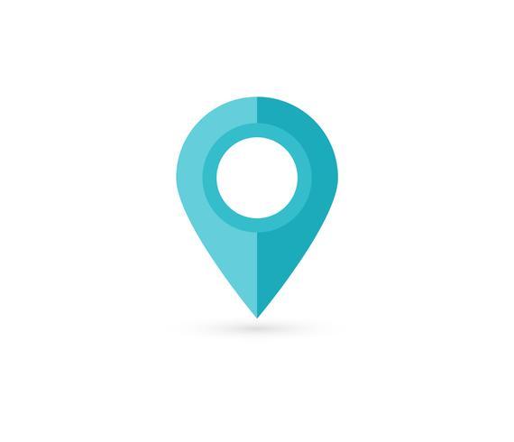 Broche de localisation. Carte de conception de vecteur icône plate broche.