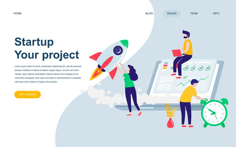 Modèle de conception de page Web plat moderne de Startup Your Project vecteur