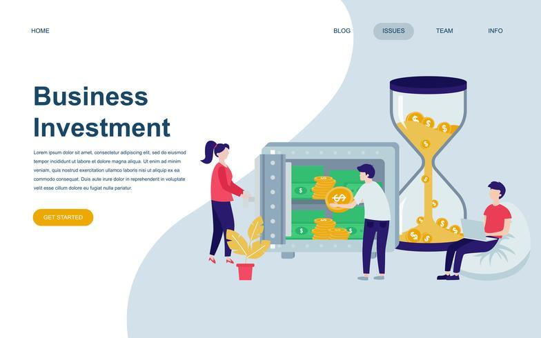 Modèle de conception de page Web plat moderne de l'investissement des entreprises vecteur
