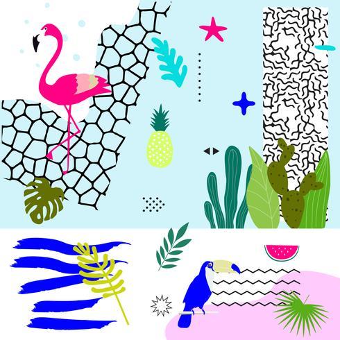 Jungle tropicale feuilles fond avec flamingo et toucan vecteur