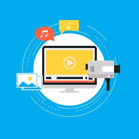 Campagne de marketing vidéo, promotion en ligne, marketing numérique, illustration vectorielle plat de publicité sur Internet vecteur