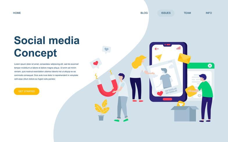 Modèle de conception de page web plat moderne des médias sociaux vecteur