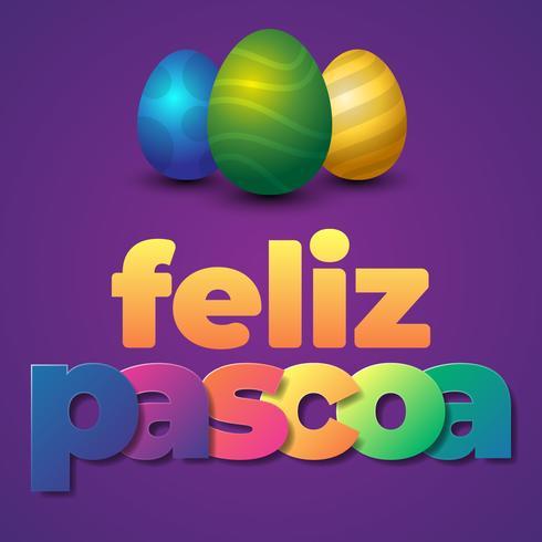 Titre brésilien portugais disant la carte de voeux de Joyeuses Pâques vecteur