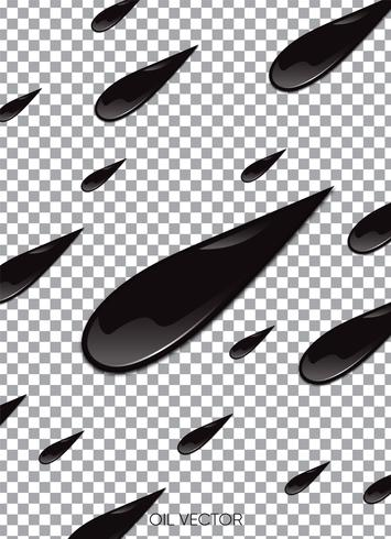 Huile noire réaliste isolée sur fond transparent. Illustration vectorielle vecteur