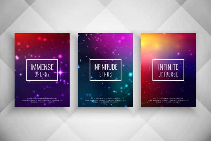 Ensemble de modèles de brochure abstrait style galaxy élégant vecteur