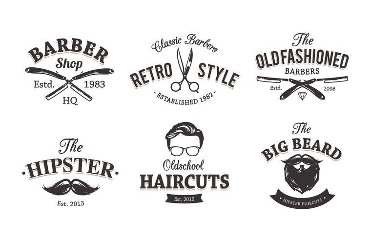 Emblèmes de coiffeur rétro vecteur