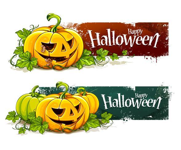 Bannières d'halloween grunge vecteur