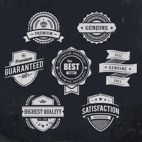 Vintage étiquettes de qualité premium vecteur
