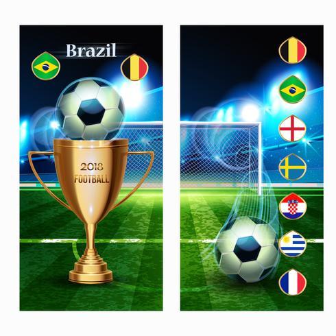 Bannière Soccer Ball avec coupe d'or et drapeau vecteur