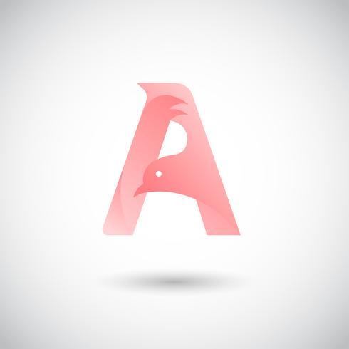 Modèle de lettre A avec colombe vecteur