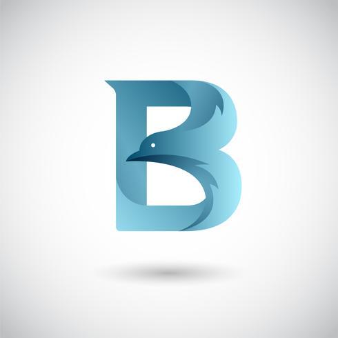 Modèle de lettre B avec colombe vecteur