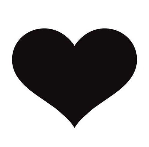 Icône de cœur plat noir isolé sur fond blanc. Illustration vectorielle vecteur
