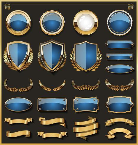 insignes d'or et éléments de conception d'étiquettes vecteur