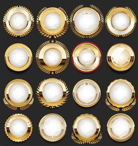 Collection de cadres et rubans de badges étiquettes rétro dorées vecteur