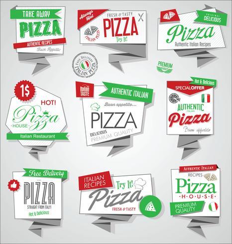 Collection de vecteur d'étiquettes de pizza et insignes
