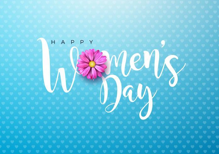 Carte de voeux Floral Happy Women's Day vecteur
