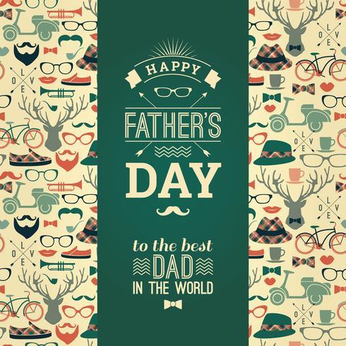 Carte de fête des pères heureux dans un style rétro. vecteur