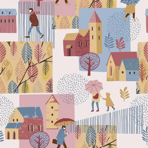 Illustration vectorielle de la ville sous la pluie. Humeur d'automne. Modèle sans couture. vecteur