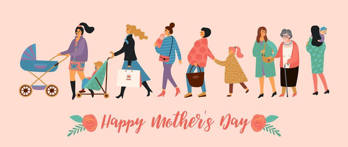 Bonne fête des mères. Illustration vectorielle avec les femmes et les enfants vecteur