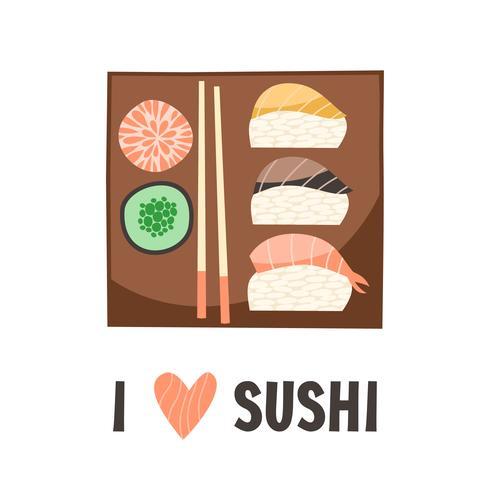 Sushi. Illustration vectorielle de cuisine japonaise sushi roll. vecteur