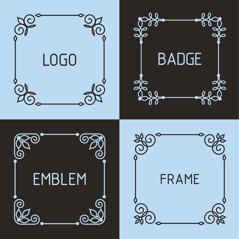 Insignes et cadres de contour de vecteur. vecteur
