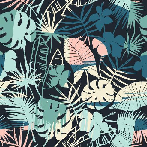 Modèle exotique sans couture avec plantes tropicales et fond artistique vecteur